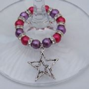 Detailed Double Star Outline Wine Glass Charm - Full Sparkle Style